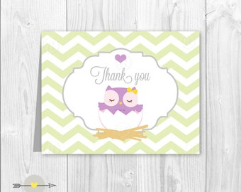 Baby shower thank you card owl chevron green and lavender, lila, purple.