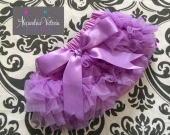 LAVENDER BLOOMER with BOW, chiffon ruffle diaper cover, photo prop, newborn ruffle bloomer-ready to ship!