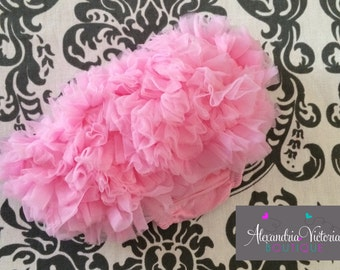 PINK BABY BLOOMER, chiffon ruffle diaper cover, photo prop, newborn ruffle bloomer-ready to ship!