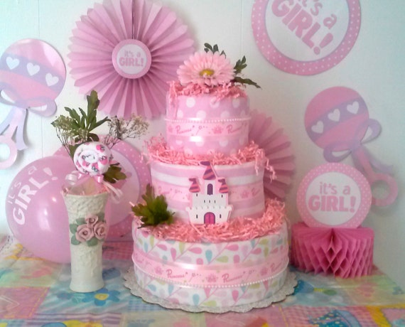 Items similar to three tier diaper cake with a lovely for Baby shower flower decoration