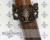 Ornate Vintage Brass Filigree Adjustable Ring Blank Distressed Antiqued - Bella Brass - High End Ring Bezel - Ring Design - 2pcs