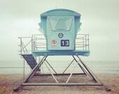 Beach Photo, Lifeguard Tower Photo, California Beach Photo, #13 Lifeguard art, Dana point, Doheny Beach, Orange County Beach, Pacific Ocean