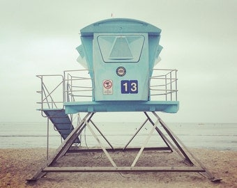 Beach Photo, Lifeguard Tower Photo, California Beach Photo, #13 Lifeguard art, Dana point, Doheny Beach, Orange County Beach, Pacific Ocean