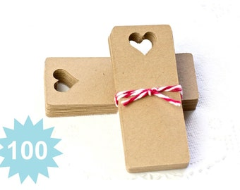 100 Kraft Tags - Your Choice of Color - Perfect Wedding Tags, Favor Tags, Merchandise Tags, Gift Tags, Scrapbooking, Paper Tags