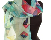 Geometric silk scarf, Modern triangle hand painted scarf