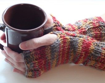 Fingerless Gloves, Colorful Gloves, Knit Gloves, Fingerless Mittens, Wrist Warmers, Arm Warmers, Cozy Gloves, Warm Gloves, Hand Knit G