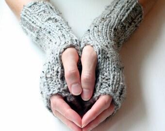 Fingerless Gloves, Grey Gloves, Knit Gloves, Fingerless Mittens, Wrist Warmers, Arm Warmers, Cozy Gloves, Warm Gloves, Grey Knit Glove