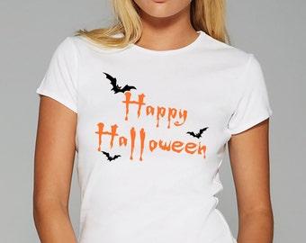 Gift T Shirt Happy Halloween T Shirt Women Tee Ladies Top 100% Cotton T Shirt