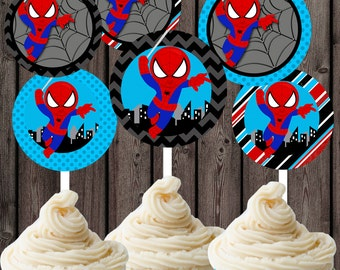 Spiderman Cupcakes toppers, INSTANT download at purchase, spiderman cupake toppers, read, blue, black toppers, spiderman party supplies