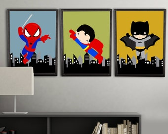 Superhero Wall Art Prints, Superhero Wall Decor, Wall Art Prints, Color  Customized To