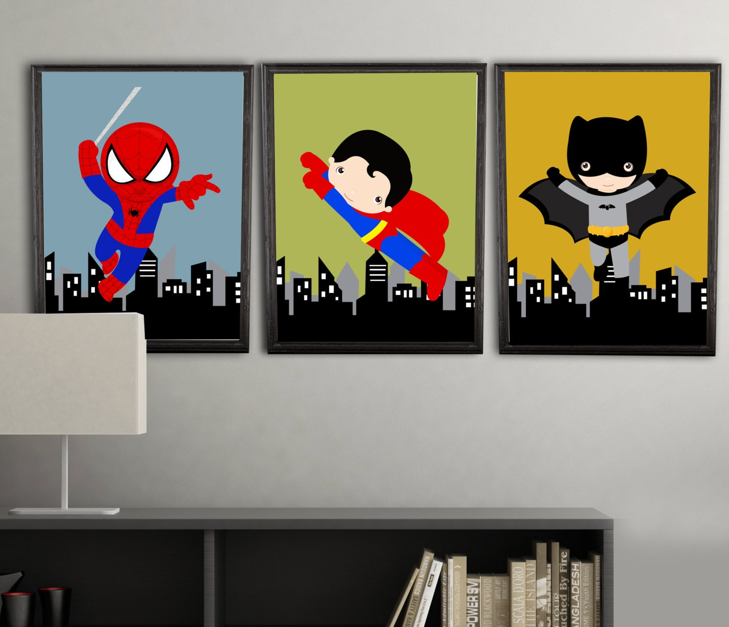 superhero wall art prints superhero wall decor wall art. Black Bedroom Furniture Sets. Home Design Ideas