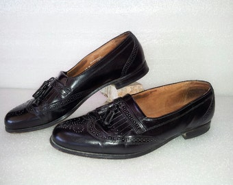 80s Bostonian Shoes / Loafer / slip on / wingtip / leather / Tassel / kiltie / Frill / long wing / Mens Size 10 M