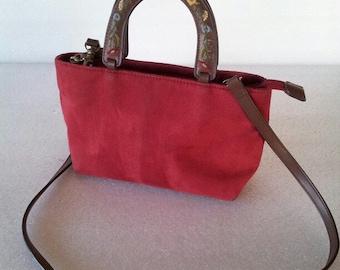 Cute! 80s Relic brand purse / Handbag / tote / suede / floral / red
