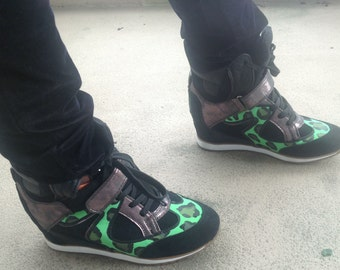 Handpainted Leopard Sneaker Wedges Green and Black