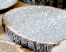 """16 Large Glitter Tree Stump Slices 10"""" for Vintage and Rustic Celebrations"""