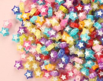 100 Pcs 10mm Assorted Plastic Star Shaped Beads