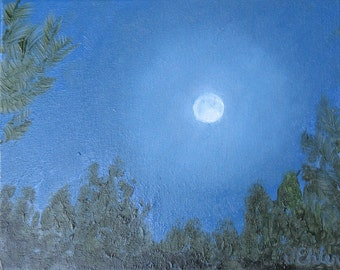 "10x8"" 'August Full Moon' original oil painting by Jean Ehler"