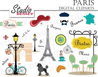 Paris Cliparts, France Clip Art, Eiffel Tower Clipart, DIY Invitations Poodle, Bistro, Bicycle Elements, France Wedding Elements C203