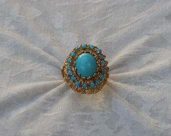Vintage Turquoise Yellow Gold Ring
