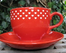 Waechtersbach Wächtersbach 1970s XXL Jumbo Cup & Saucer – Hearts – Red and White – So sweet, so Retro – Vintage German Pottery – Soup Coffee