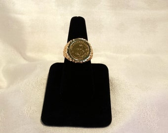 Krugerand Coin Ring in 14k Gold Mount - EB111