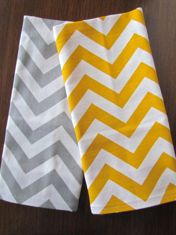 gray yellow tea towels set of 2 chevron tea towel gray hand. Black Bedroom Furniture Sets. Home Design Ideas