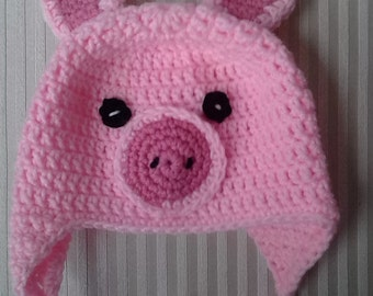 Crochet Pig Hat / Animal Hat