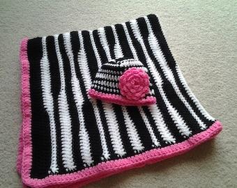 Zebra Hat and Blanket Set