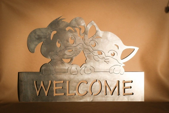 Adorable Cat And Dog Welcome Sign Plasma Cut Metal Wall Art