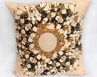 "Cream rose wreath pillow cover / cushion cover  - 18""x18"" (45x45cm) decorative cushion, decorative pillow, pillow throw, throw pillow"