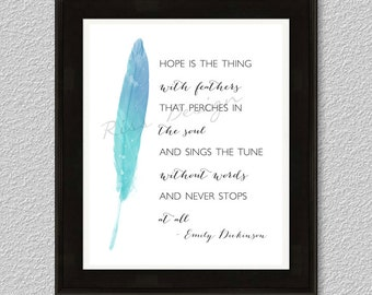 Hope is the thing with feathers that perches in the soul - PRINTABLE Wall Art / 2 for 1 Printable / Blue AND Pink watercolor feather
