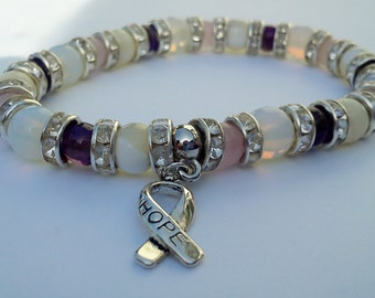 Gemstone Fertility Bracelet - Healing Amethyst, Moonstone, Rose Quartz and Pearl - IVF and IUI Hope...