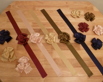 18th Century Cap Ribbon, Sleeve Knots, and Breast Knot Bow Sets ~ Silk Satin ~ for Colonial Rev War Reenacting (ACC-CBS)