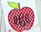 Apple Digital Machine Embroidery Applique Design 4 sizes Empire Empress Monogram Font