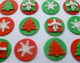 Edible Fondant Christmas Cupcake Toppers 2 of each design - red/green presents -red/green trees -red/green snowflakles