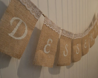 Customizable Burlap Desserts Sign, Burlap Wedding Sign