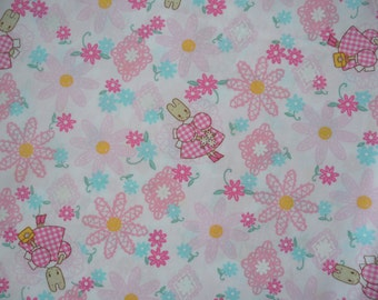 "Fat Quarter of  Sanrio Cotton Flower Lace Marron Cream Fabric in Pink. Approx. 18"" x 22"" Made in Japan"