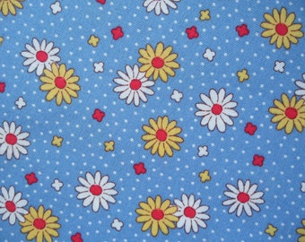 "Fat Quarter of Lecien Retro 30's Child Smile Blue Daisy Fabric. Approx. 18"" x 22"" Made in Japan"