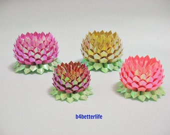 Lot of 4pcs Origami Lotus In 4 Colors and 4 sizes. (AV Paper Series)