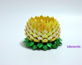 A Piece of Large Size Yellow Color Origami Lotus. 132 Petals. (RS paper series).