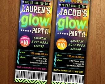 Glow Party Ticket Invite: Printable