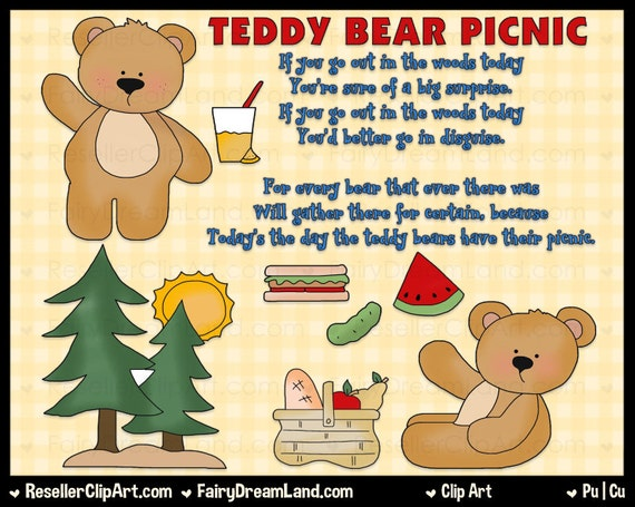 Teddy Bear Picnic Digital Clip Art Commercial Use Graphic