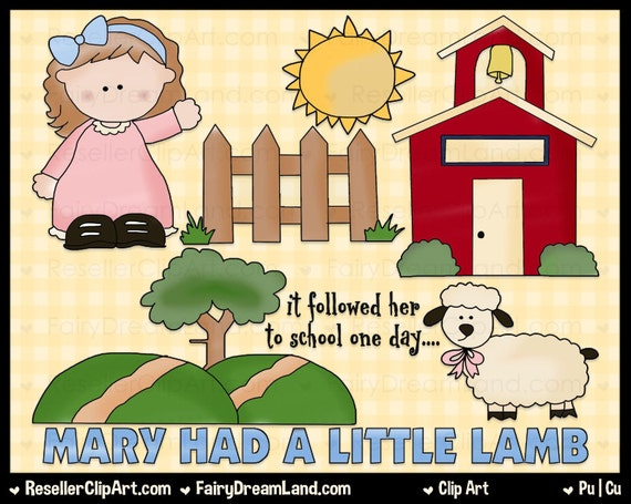 Mary Had A Little Lamb Digital Clip Art Commercial Use