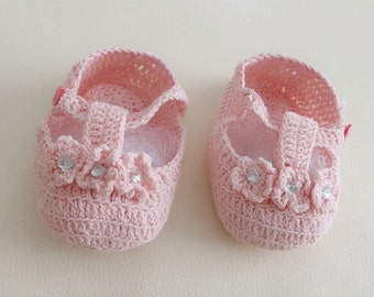 Zeeda Baby Girl Crochet Knit Diamante Pink T-Strap Shoes Size Preemie Newborn