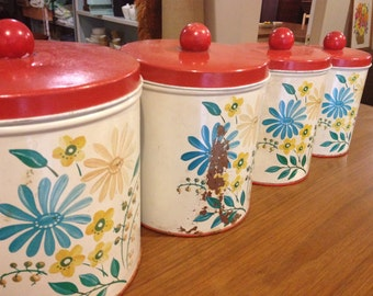 RETRO set of 4 tin canisters FLOWER POWER Vintage
