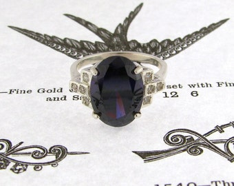 Vintage inspired with a Deco twist...Amethyst CZ Silver Ring