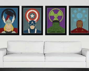 Superhero, Avengers - Minimalist, Vintage,Retro Movie Poster 4 Set
