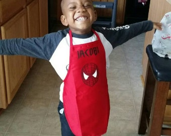 Child's Super Hero Spiderman Dress Up Costume Apron Art Smock Red Blue White | Boy's or Girl's | Birthday Parties