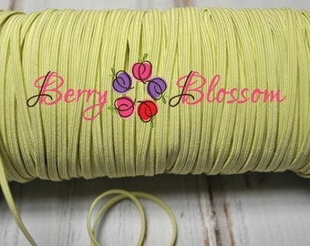 """Pale Yellow skinny elastic 1 or 5 yards - 1/8"""" inch - elastic by the yard - Thick Skinny 1/8"""" - JT #1"""