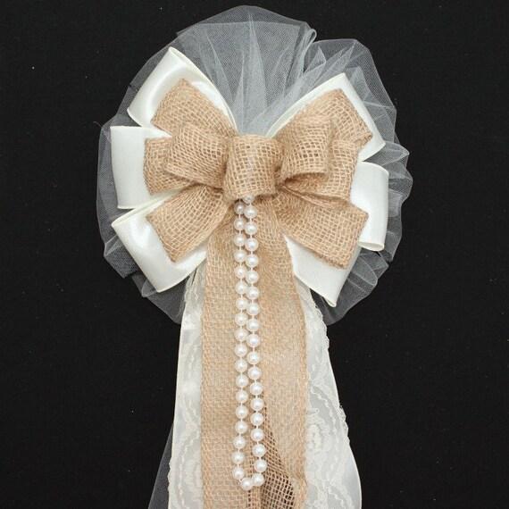 Wedding Pew Decoration Ideas: Ivory Burlap Lace Pearls Rustic Wedding Bows Pew Church